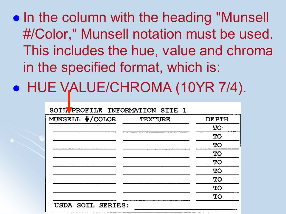 In the column with the heading Munsell #/Color, Munsell notation must be used. This includes the hue, value and chroma in the specified format, which is: