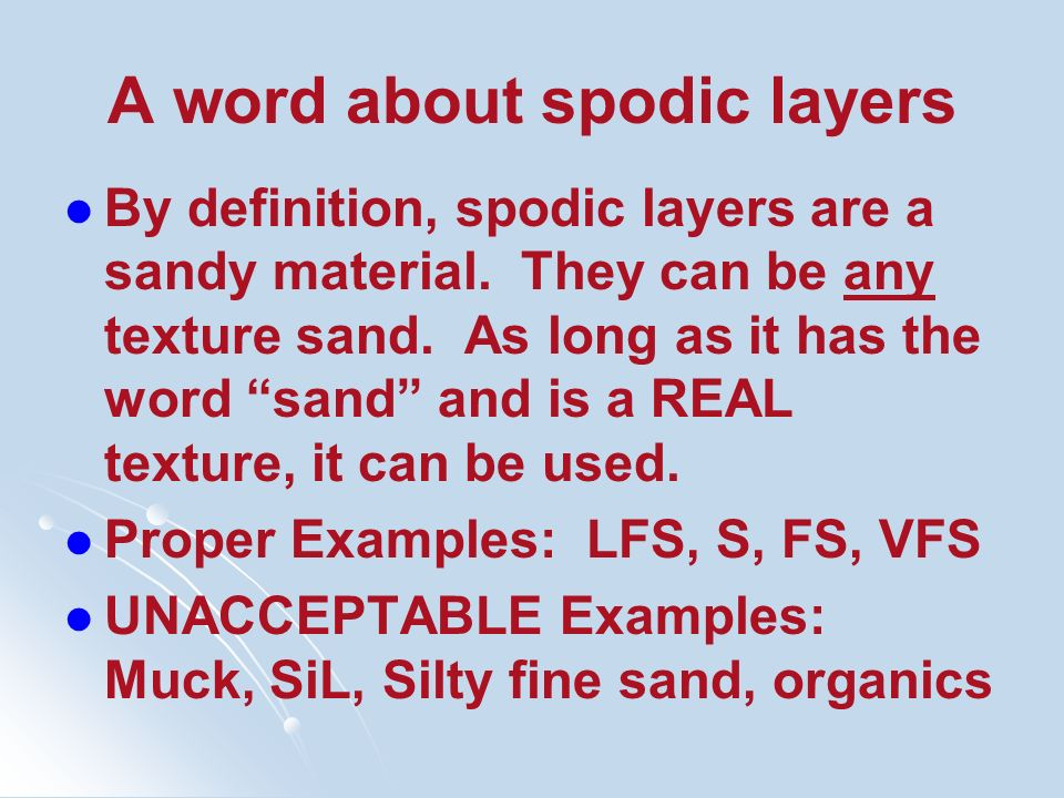 A word about spodic layers