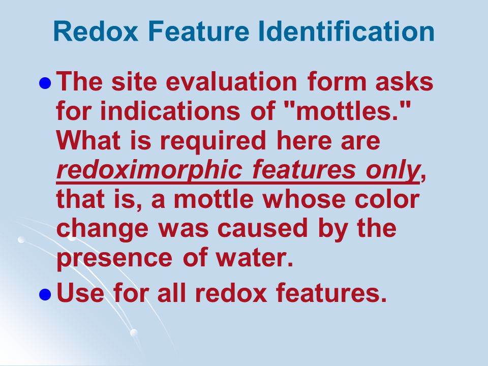Redox Feature Identification