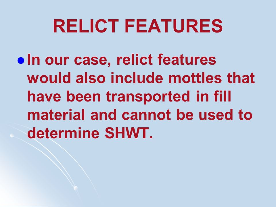 RELICT FEATURES