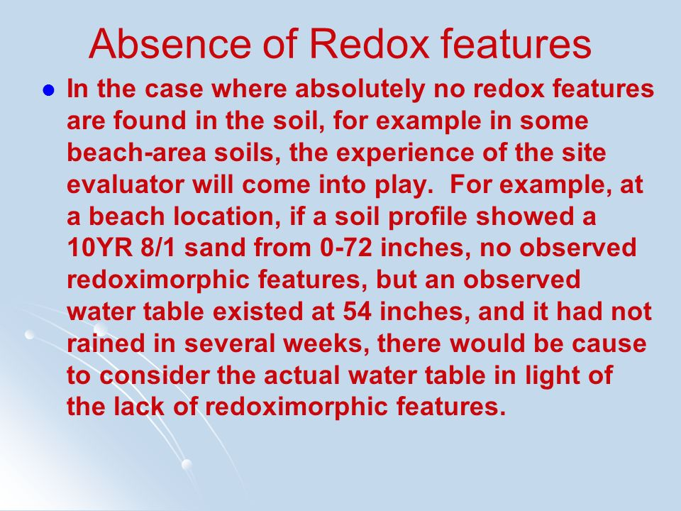 Absence of Redox features