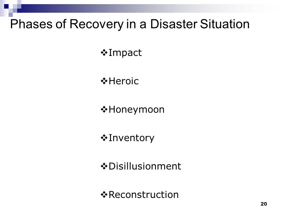 Phases of Recovery in a Disaster Situation