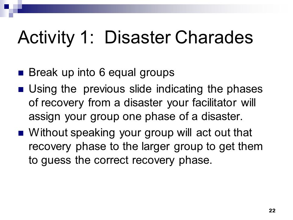 Activity 1: Disaster Charades
