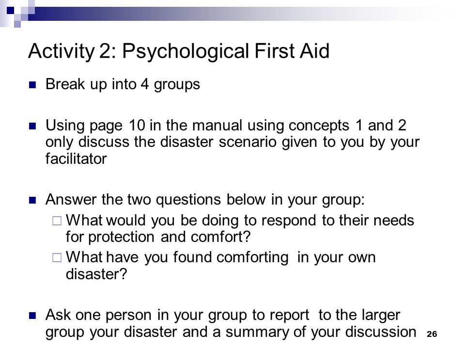 Activity 2: Psychological First Aid
