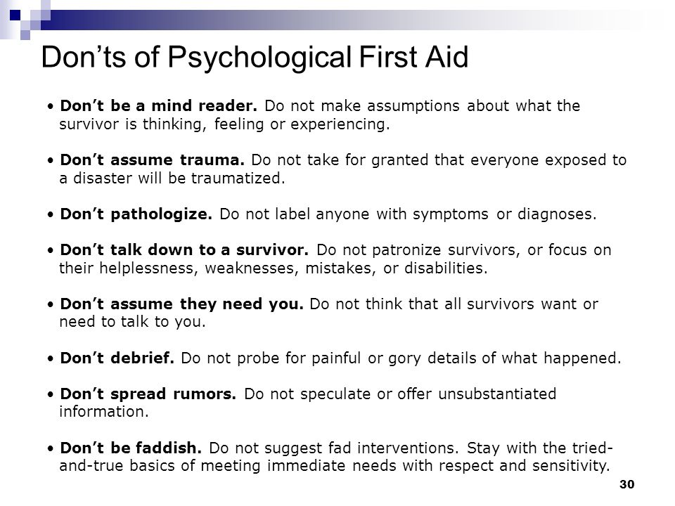 Don'ts of Psychological First Aid