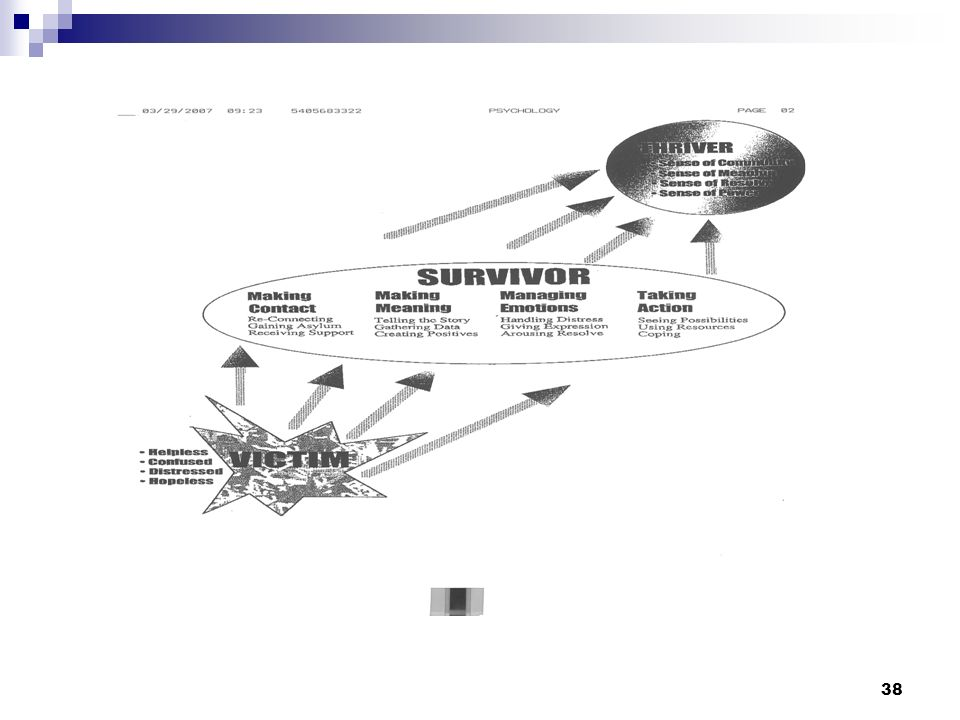 Discuss chart of movement from victim to survivor to thriver
