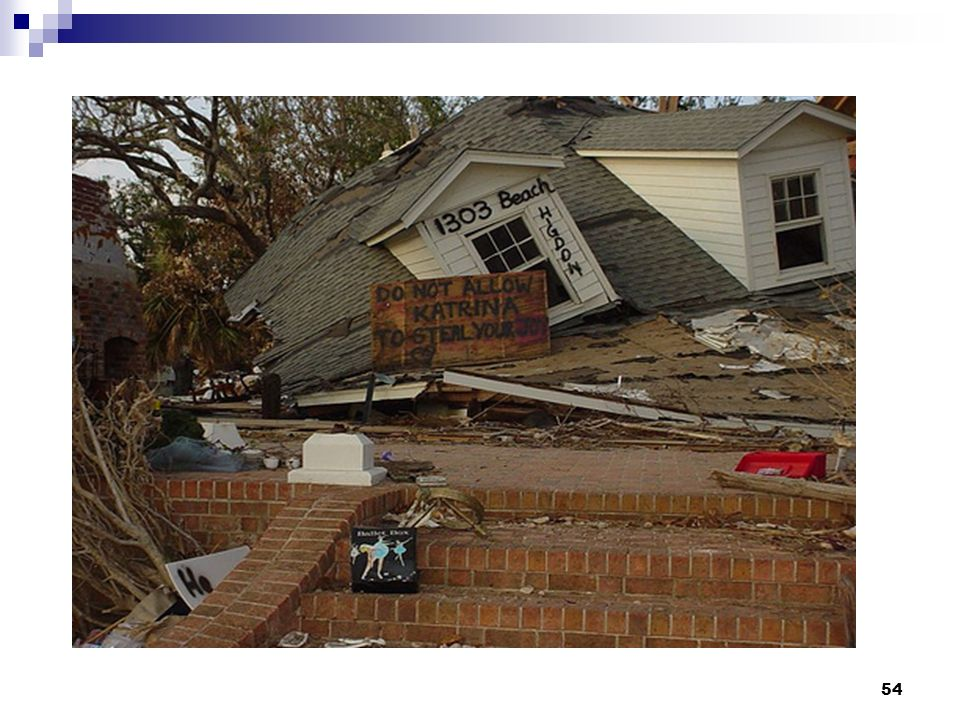 Facilitator Note: This should be picture of house devastated by Katrina. Comment on the resiliency message here;