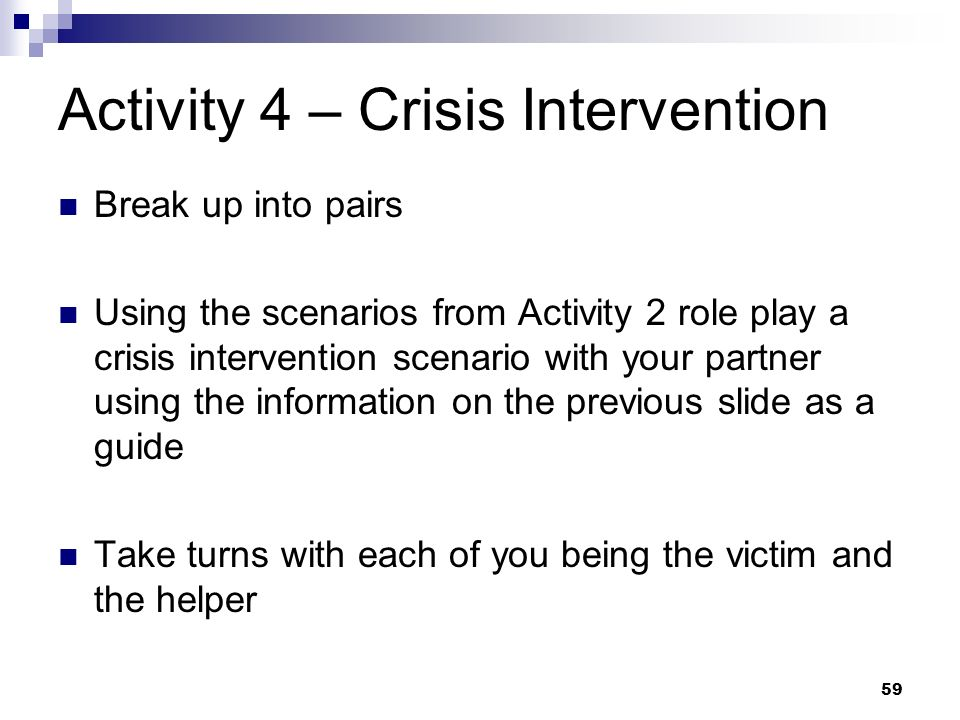 Activity 4 – Crisis Intervention