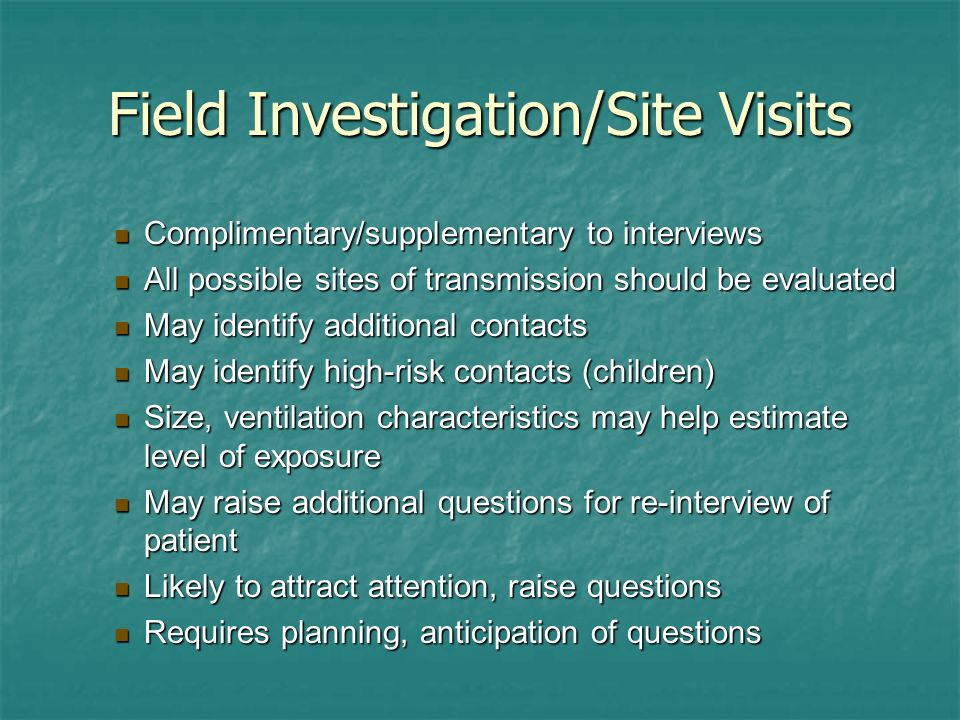 Field Investigation/Site Visits