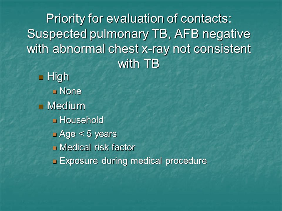 Priority for evaluation of contacts: Suspected pulmonary TB, AFB negative with abnormal chest x-ray not consistent with TB