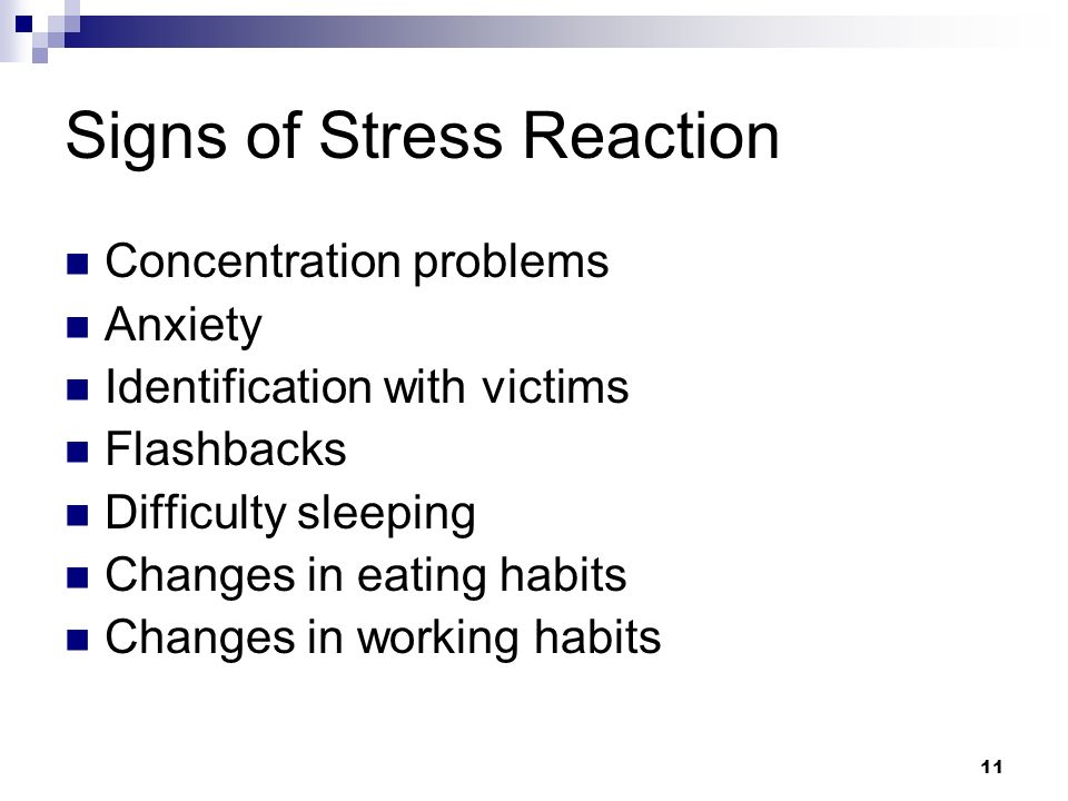 Signs of Stress Reaction