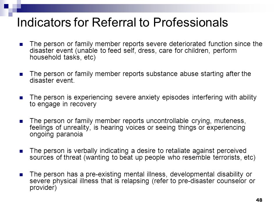 Indicators for Referral to Professionals
