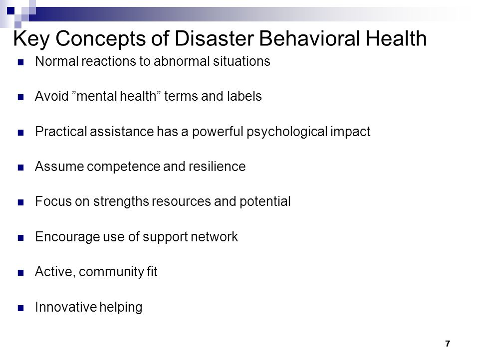 Key Concepts of Disaster Behavioral Health