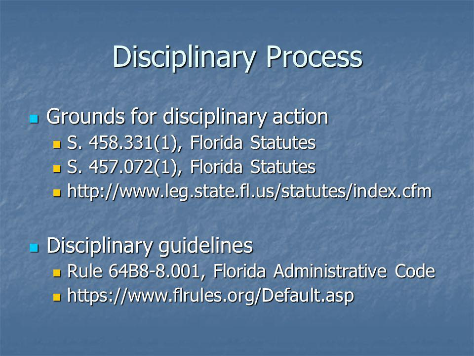 Disciplinary Process Grounds for disciplinary action