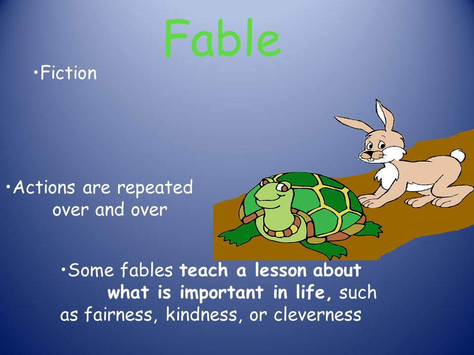 Fable Fiction Actions are repeated over and over