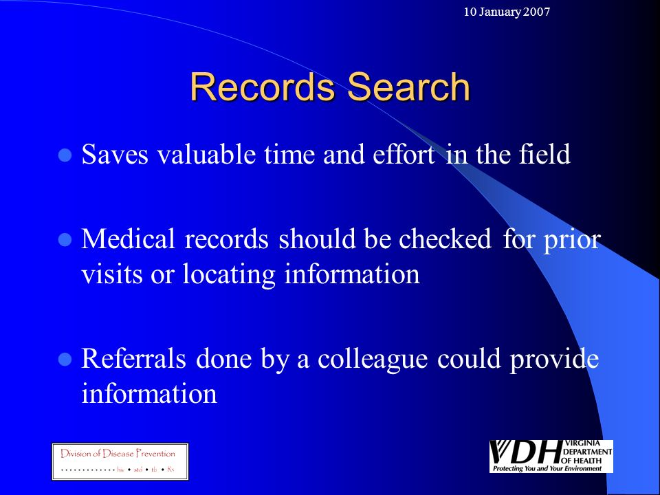 Records Search Saves valuable time and effort in the field