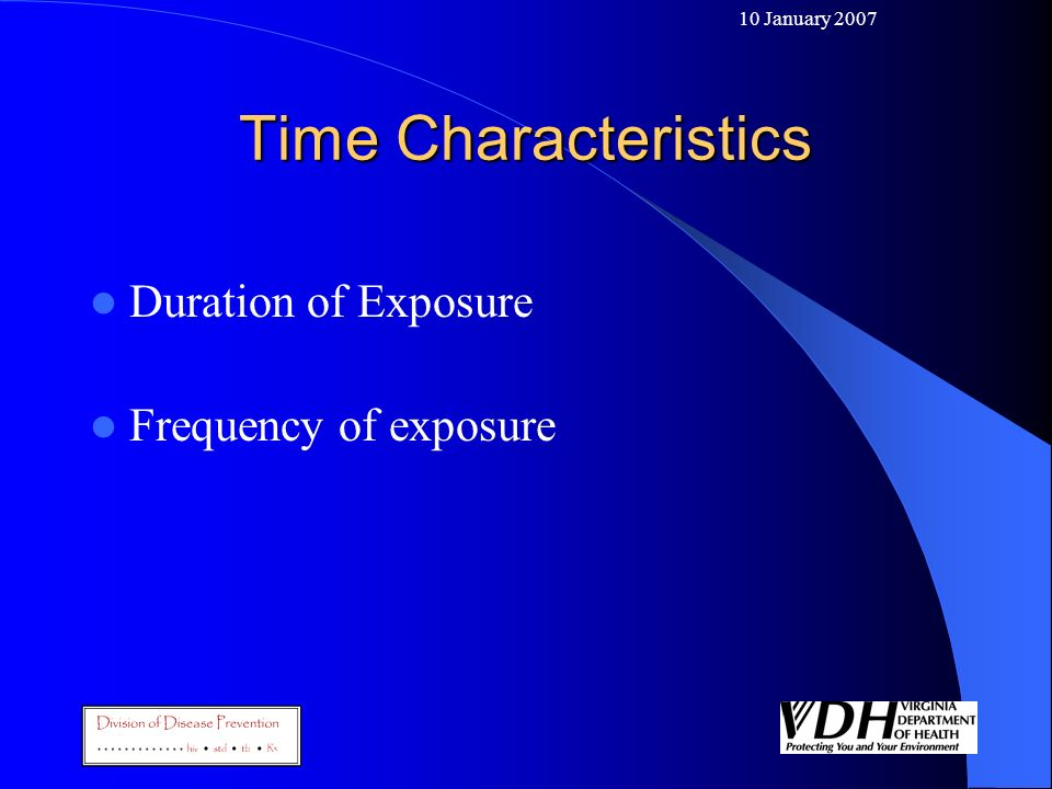 Time Characteristics Duration of Exposure Frequency of exposure