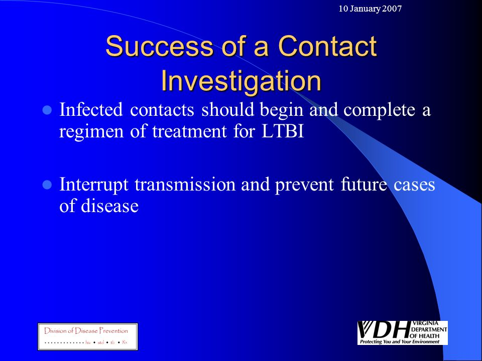 Success of a Contact Investigation