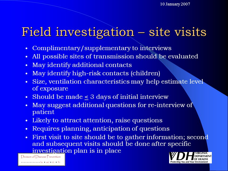 Field investigation – site visits