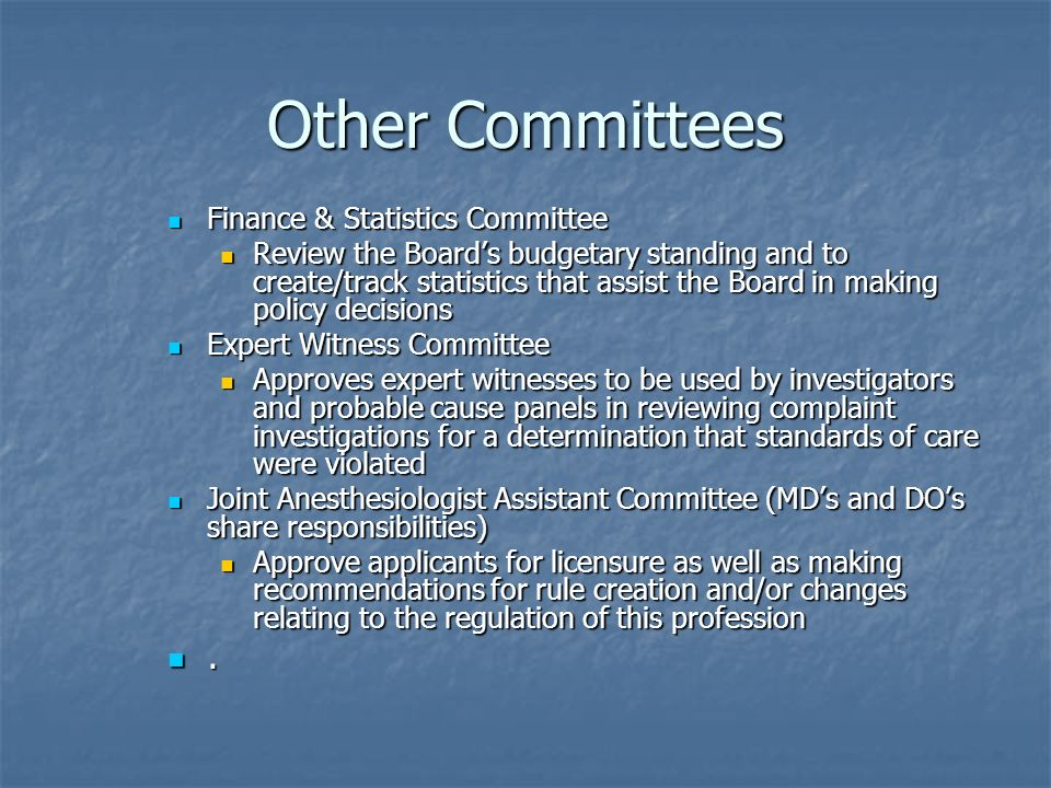 Other Committees . Finance & Statistics Committee