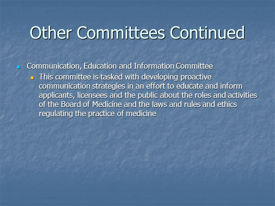 Other Committees Continued