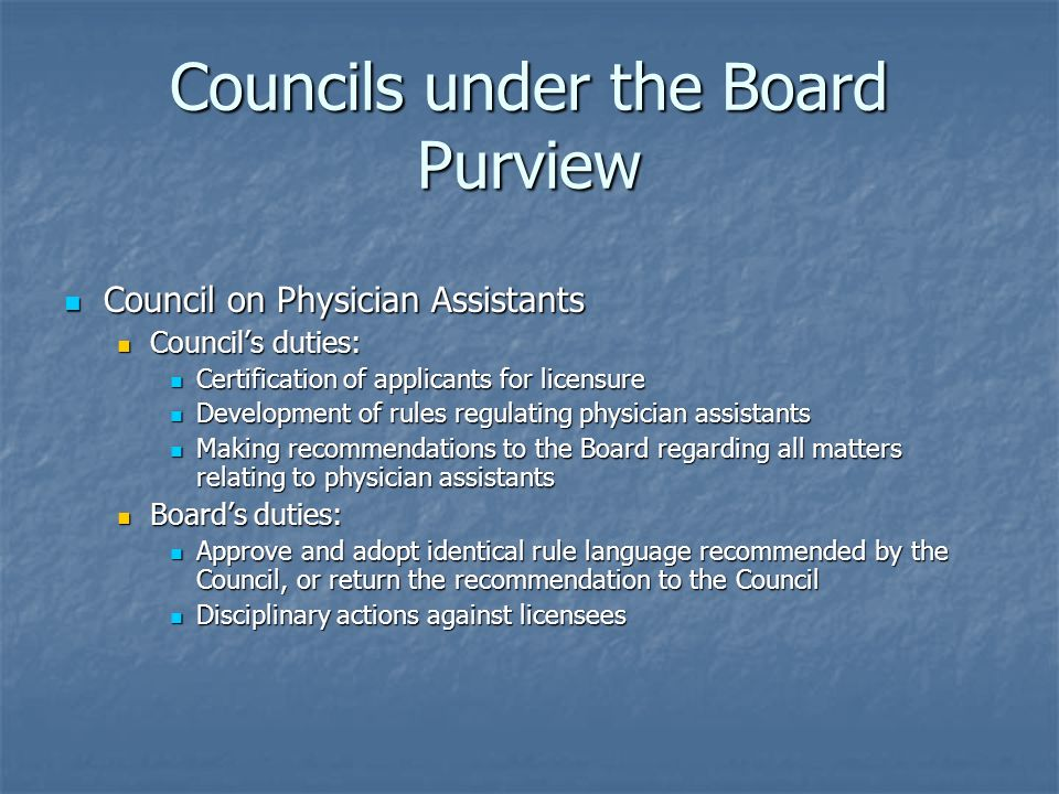 Councils under the Board Purview
