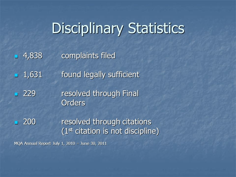 Disciplinary Statistics