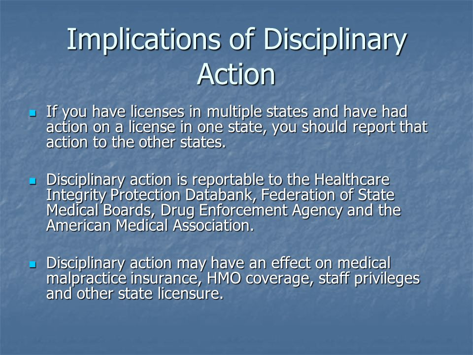Implications of Disciplinary Action
