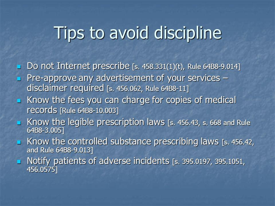 Tips to avoid discipline