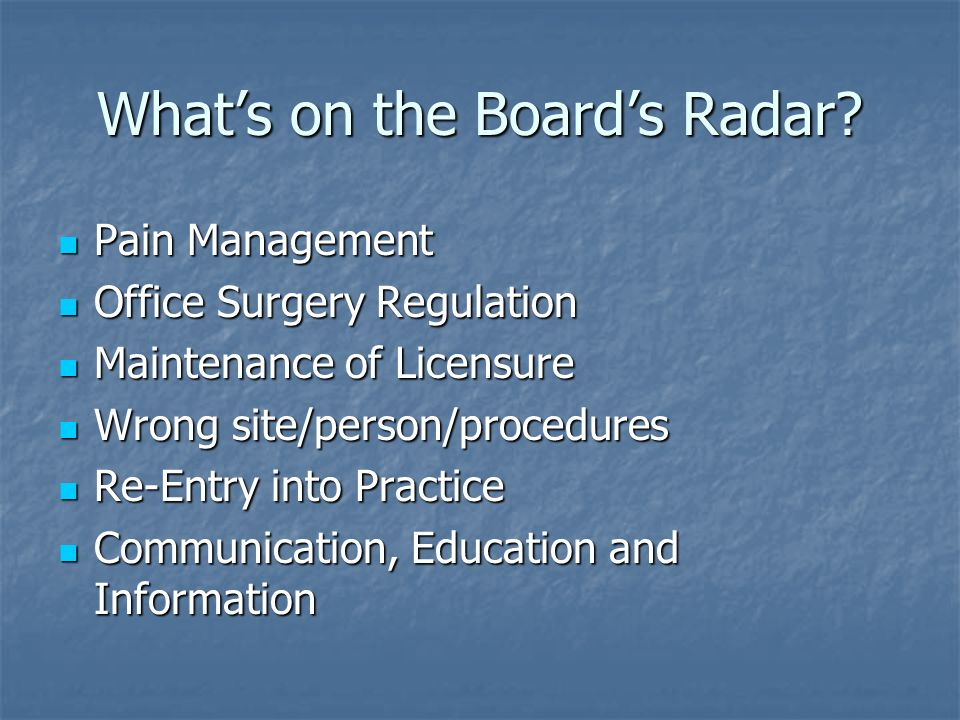 What's on the Board's Radar