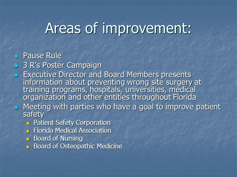 Areas of improvement: Pause Rule 3 R's Poster Campaign