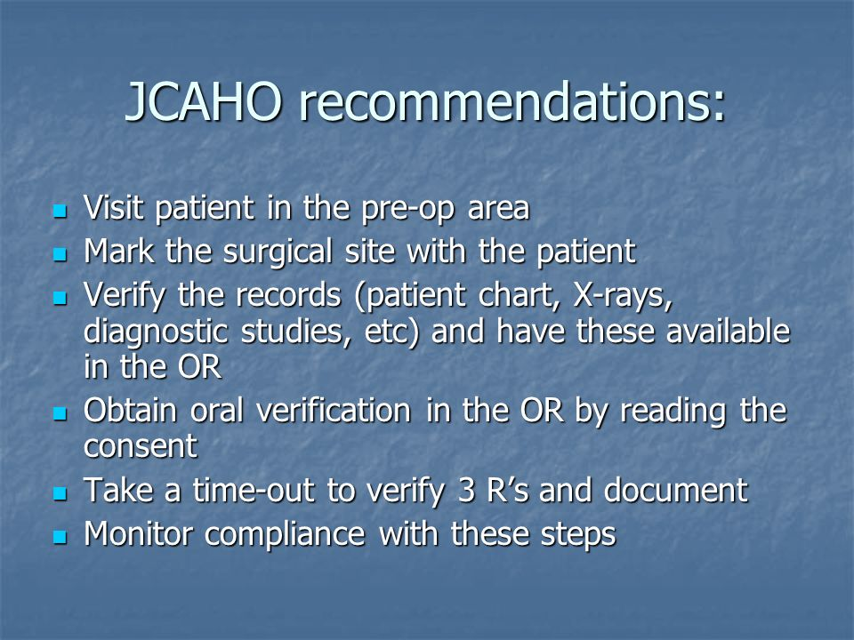 JCAHO recommendations:
