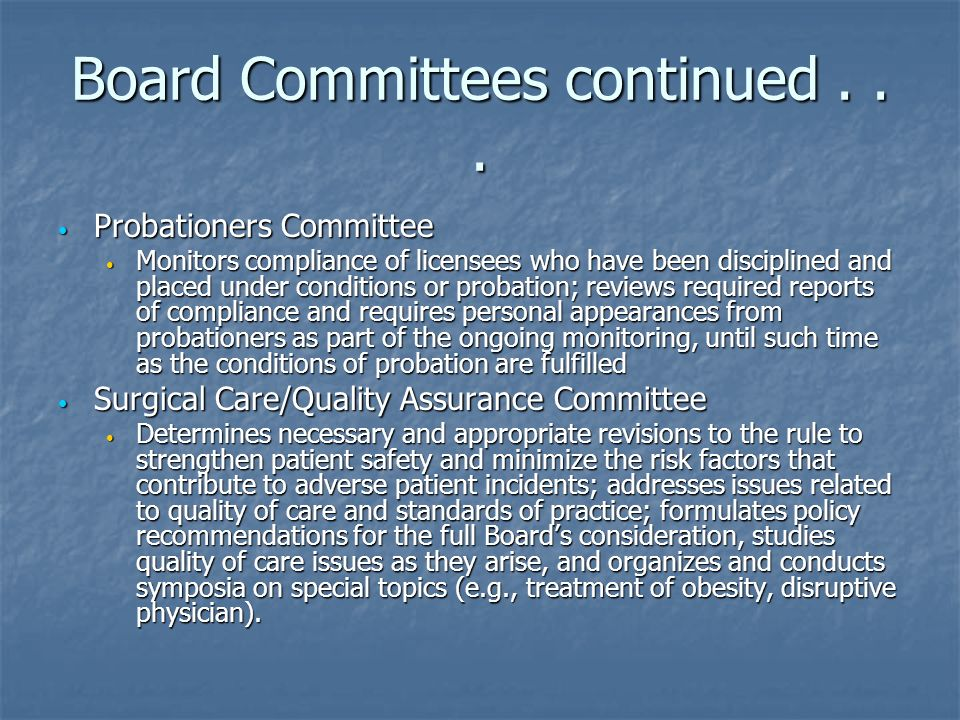 Board Committees continued . . .