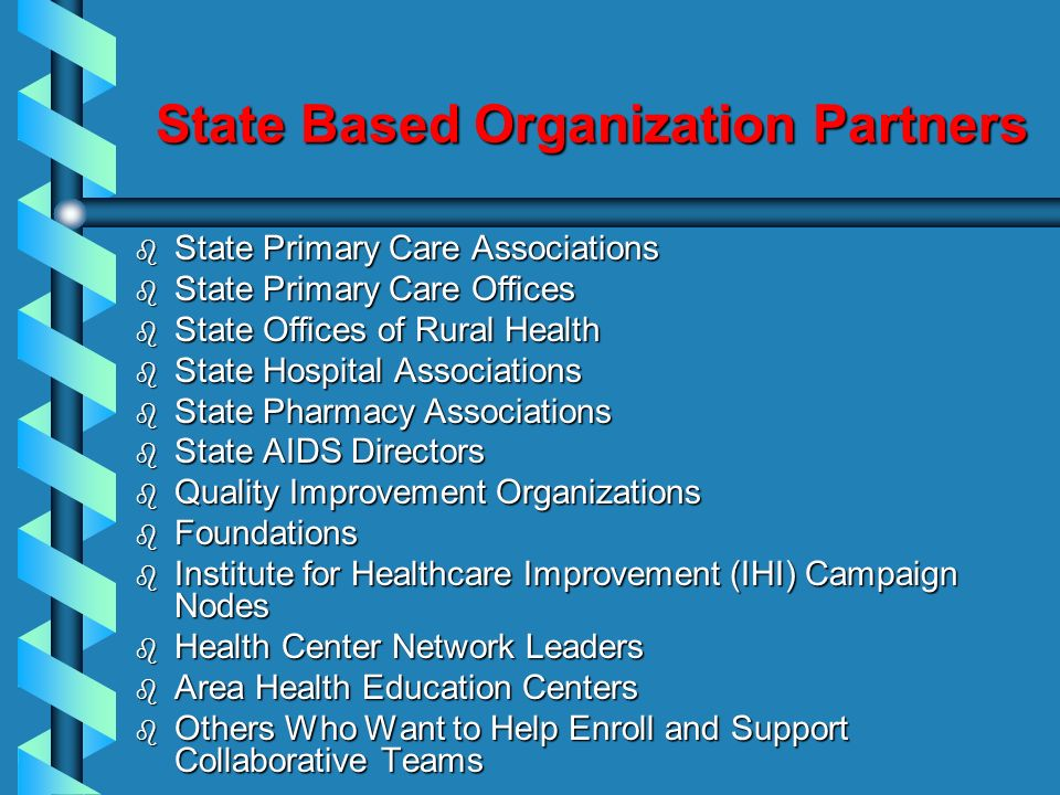 State Based Organization Partners