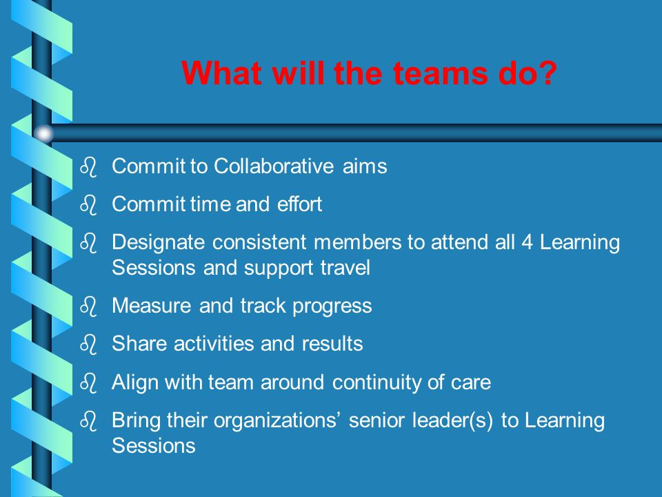 What will the teams do Commit to Collaborative aims