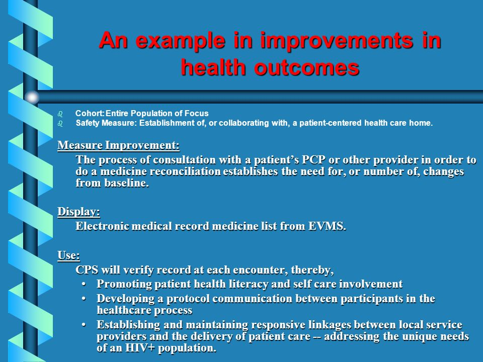 An example in improvements in health outcomes