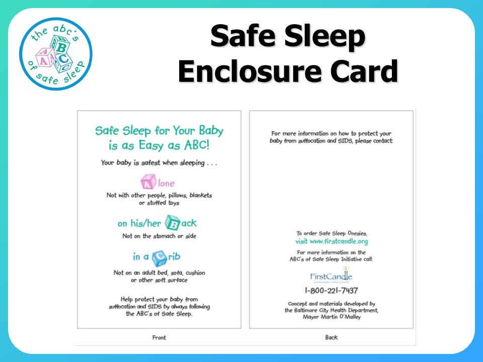 Safe Sleep Enclosure Card