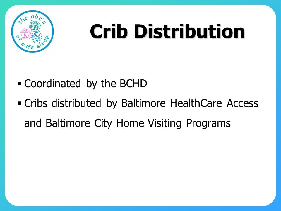 Crib Distribution Coordinated by the BCHD