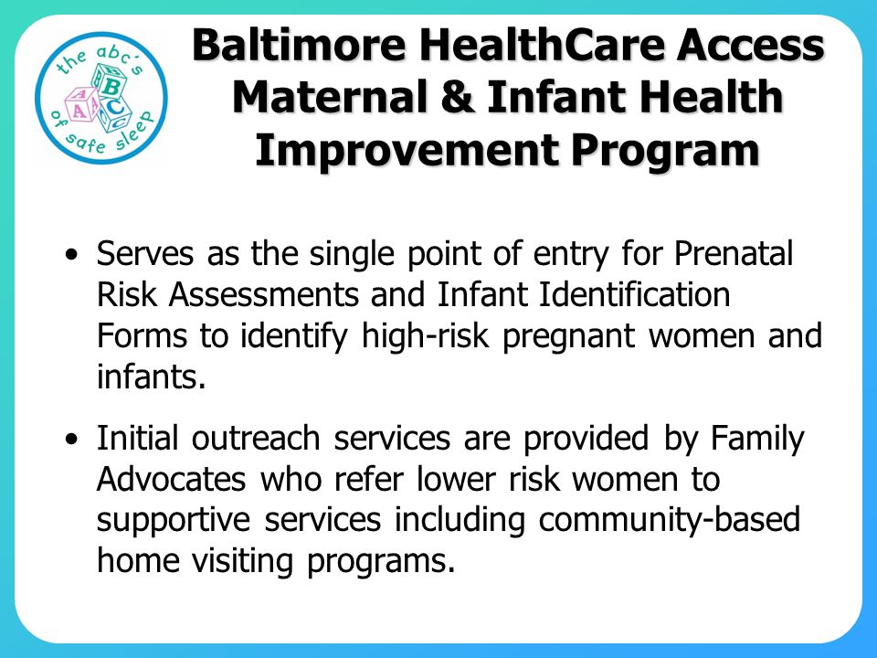 Baltimore HealthCare Access Maternal & Infant Health Improvement Program