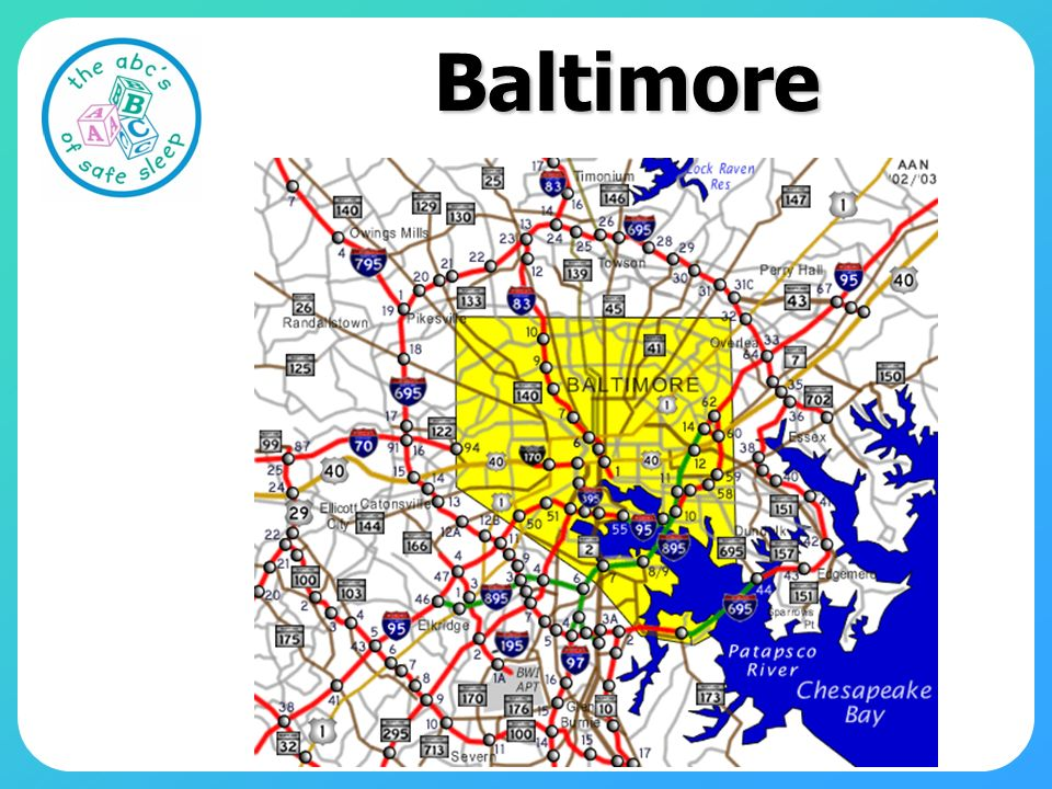 Baltimore Map for orientation—east and then up I95 from Charlottesville