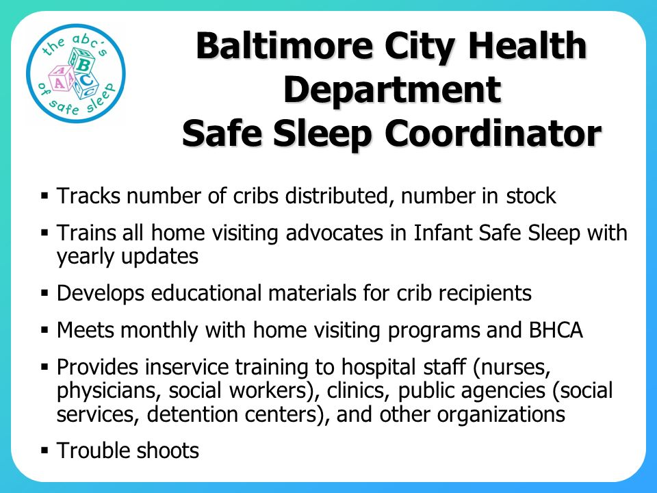 Baltimore City Health Department Safe Sleep Coordinator