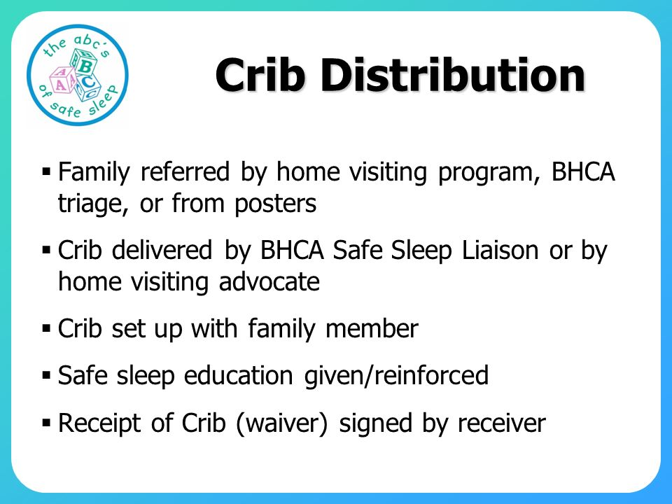 Crib Distribution Family referred by home visiting program, BHCA triage, or from posters.
