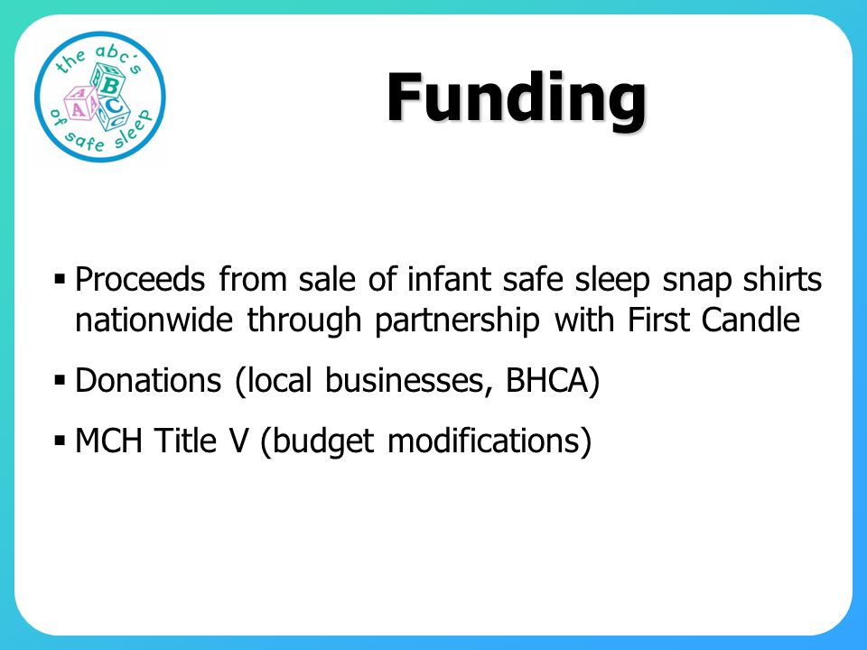Funding Proceeds from sale of infant safe sleep snap shirts nationwide through partnership with First Candle.