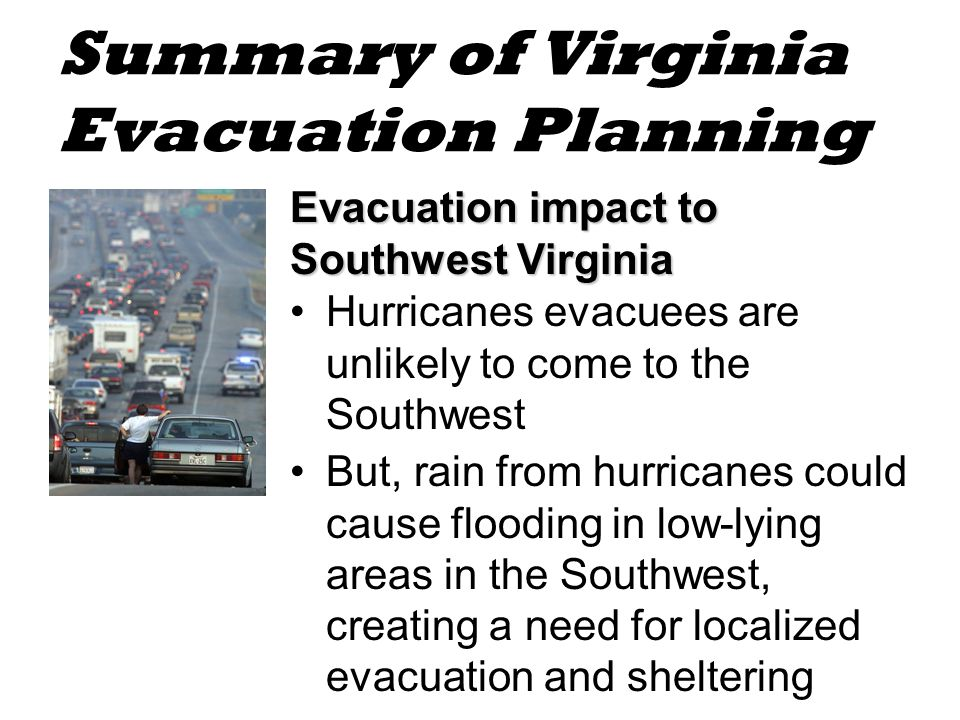 Summary of Virginia Evacuation Planning