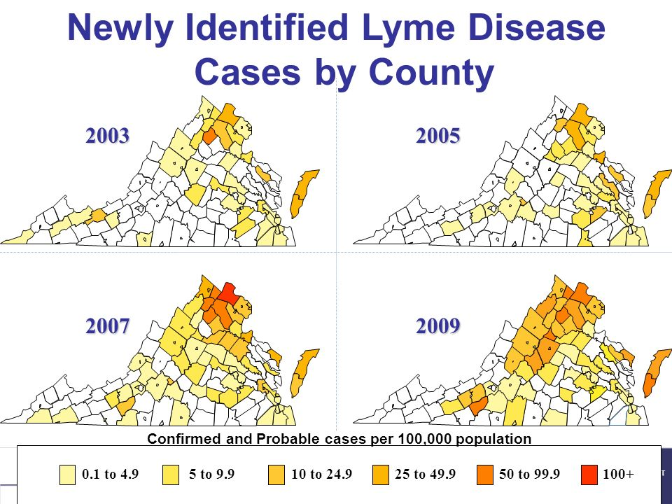 Newly Identified Lyme Disease Cases by County