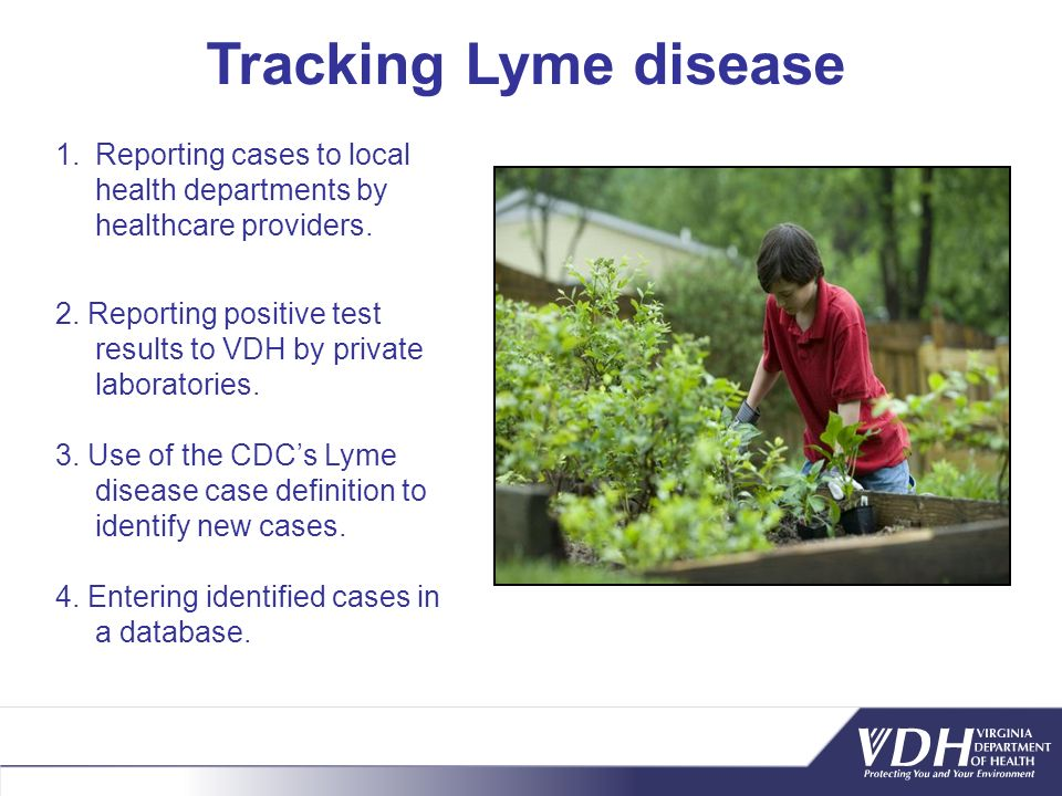 Tracking Lyme disease Reporting cases to local health departments by healthcare providers.