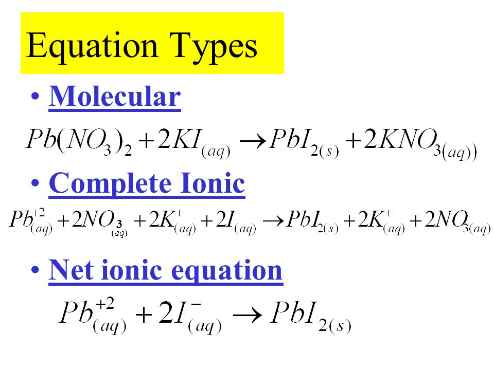 ion and net ionic equation The complete ionic equation is used to describe the chemical reaction while also clearly indicating which of the reactants and/or products exist primarily as ions in aqueous solution to write the complete ionic equation:.