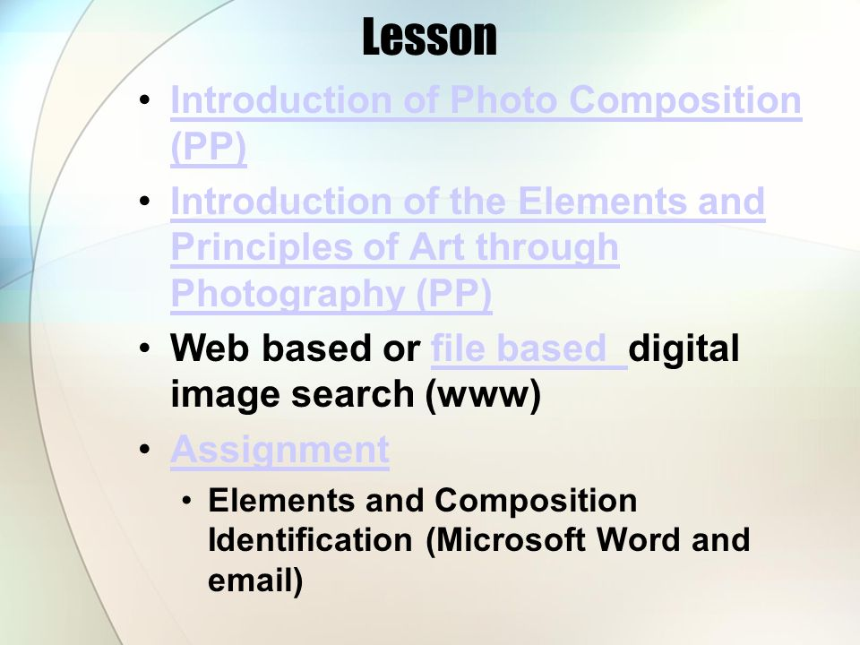 Lesson Introduction of Photo Composition (PP)