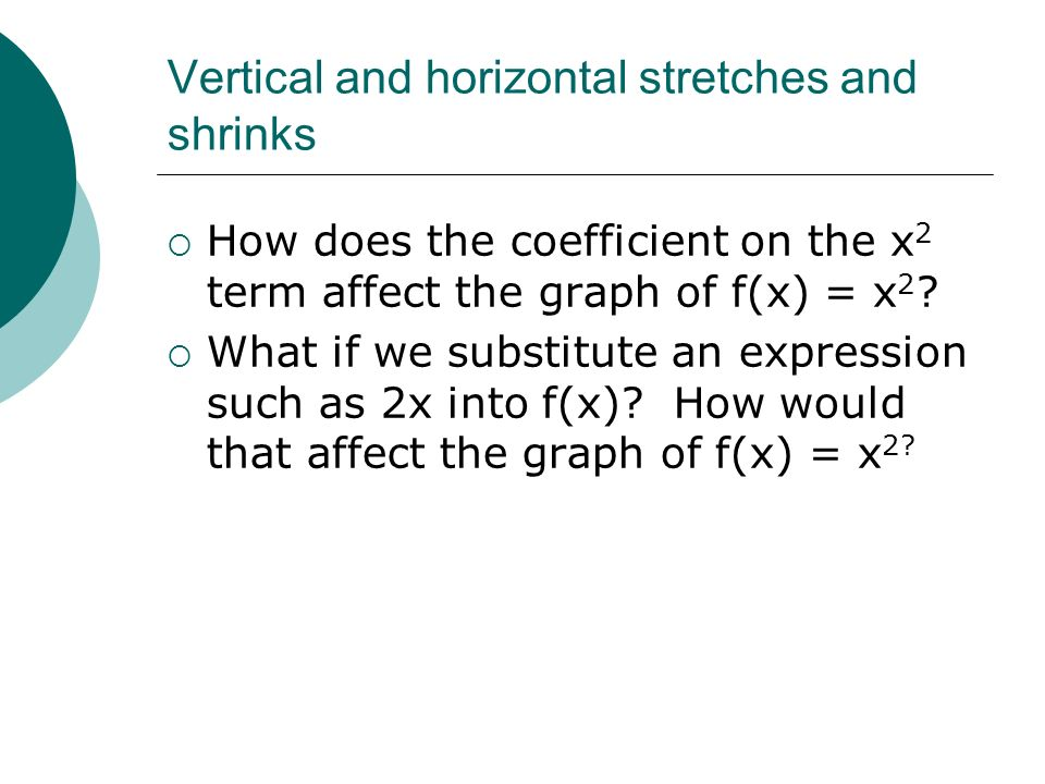 Vertical and horizontal stretches and shrinks