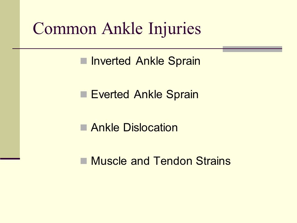 Common Ankle Injuries Inverted Ankle Sprain Everted Ankle Sprain